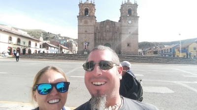 Israel and I in the main plaza of Puno