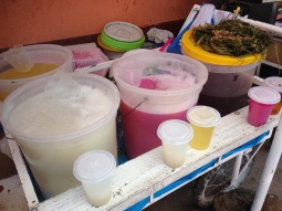 This is chicha, a local drink fermented with spit. Yes spit. Mmmm!